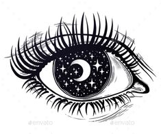 Beautiful realistic psychedelic eye with a pupil as a starry sky with moon, look. Beautiful realistic psychedelic eye with a pupil as a starry sky with moon, looking into a night sky. Trippy Drawings, Art Drawings Sketches, Night Sky Tattoos, Trippy Eye, Art Hippie, All Seeing Eye Tattoo, Tattoo Mond, Inspiration Artistique, Moon Drawing