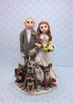 Custom Bride and Groom  with pets Wedding by lynnslittlecreations, $30.00