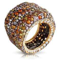 Fabergé Passion Ring 18 ct. yellow gold, silver, white, pink and yellow diamonds, opals, spinels and spessartites