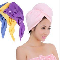Haar-Handtuch-Schnell-Mikrofaser-trocknendes-eingewickelt-Turban-Hut-Kappen-Tuch