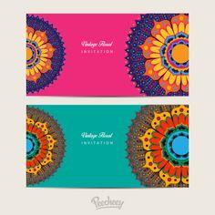 Mandala decorated invitations