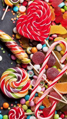 Cute Food Wallpaper, Cupcakes Wallpaper, Wallpaper Ideas, Paletas Chocolate, Candy Rush, Yummy Treats, Sweet Treats, Kreative Desserts, Colorful Candy