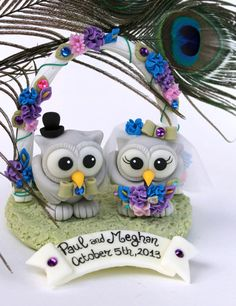 Custom owl love bird wedding cake topper in by PerlillaPets, $95.00 i think I have found our cake topper!!!!!