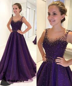 Beading Long Prom Dress Purple Scoop Evening Dress A-line Formal Dress,HS554 #promdresses #fashion #shopping #dresses #eveningdresses