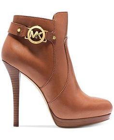 "MICHAEL Michael Kors Wyatt Platform Booties - Michael Kors Boots - Shoes - Macy's - in ""Luggage"" in black though ! Heeled Boots, Bootie Boots, Shoe Boots, Ankle Boots, Shoes Heels, Mk Boots, Tom Shoes, Tan Booties, Brown Boots"