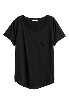 Slub Jersey T-shirt | Black | WOMEN | H&M US