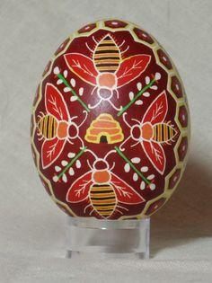 bees and honeycomb pysanka egg
