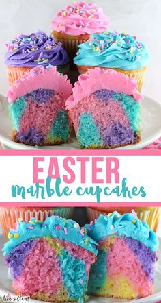 Easter Marble Cupcakes - a beautiful and colorful Easter cupcake that will wow your Easter Party guests. Easter Treats never looked so good or were so easy to make. What a fun and delicious Easter Des Easter Snacks, Easter Brunch, Easter Treats, Easter Recipes, Dessert Recipes, Easter Food, Easter Party, Easy Easter Desserts, Deserts For Easter