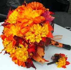Fall Mum and Leaf Bouquet with Matching Boutineer by poseysandpetals on Etsy https://www.etsy.com/listing/462554292/fall-mum-and-leaf-bouquet-with-matching