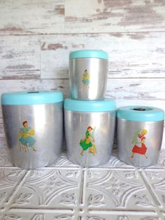 Vintage Metal West Bend Canister Hand Painted Aqua Aluminum with Black Knobs Fifties Retro Housewife Rockabilly