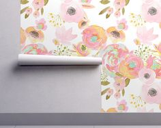 Watercolor Floral Wallpaper - Rainbow Florals by Indy Bloom Design - Custom Printed Removable Self Adhesive Wallpaper Roll by Spoonflower
