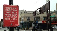 Artist Jay Shell puts up rap quotes in New York City