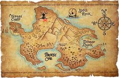 vintage map of never land - Google Search