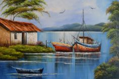 The Boathouse: a new definition to lakefront living! Fantasy Landscape, Landscape Design, Bali Stil, Watercolor Landscape Paintings, Boat Painting, Rustic Design, Beautiful World, Landscape Photography, Scenery