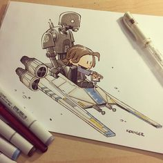 I'm Taking bids on this original lil jyn and #k2so drawing. Opening bid is $50 USD. Please bid in the comments here in at least 5 dollar increments. The highest bid at 12 noon PST today wins! please check all the previous bids before placing your bid to make sure you are bidding correctly. #rogueone #calvinandhobbes