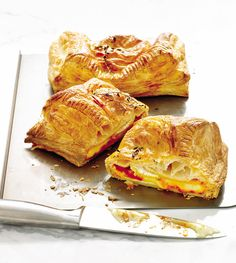 Flaky puff pastry, creamy camembert cheese and sweet peppers are baked together for an oozy, cheesy treat that's ready in 35 minutes.