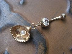 Gold Plated Seashell Belly Button Ring Jewelry- Pearl Oyster Clam Sea Shell Navel Piercing Bar Barbell #azeetadesigns