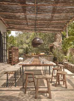 A woven cane pergola shades an outdoor dining patio. For more, see La Granja Ibiza: The Sexy New Farm Retreat. Photograph courtesy of Design Hotels. Patio Pergola, Pergola Shade, Pergola Ideas, Cheap Pergola, Pergola Carport, Small Pergola, Modern Pergola, Small Patio, Porch Ideas