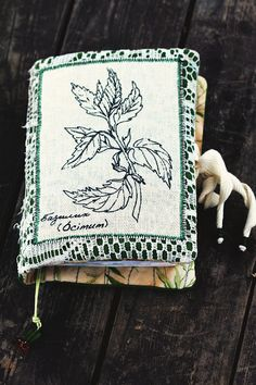 Basil aroma Soft Notebook with Herbs - Textile Eco Diary Journal
