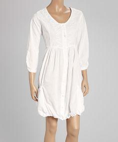 Look at this #zulilyfind! White Embellished Peasant Dress #zulilyfinds