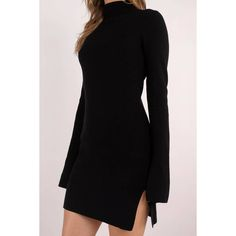 On Your Side Black Slit Sweater Dress ($39) ❤ liked on Polyvore featuring dresses, high-neck dress, side slit dress, high neck sweater dress, high neckline dress and high-neck dresses