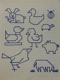 basic animal forms for logos Blackwork Embroidery, Vintage Embroidery, Cross Stitch Embroidery, Cross Stitch Patterns, Graph Paper Art, Drawing Exercises, Drawing Lessons, Drawing For Kids, Learn To Draw