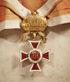Leopold Order, Commanders' Cross, early example 1812–1830, with larger crown for this period. Obv.