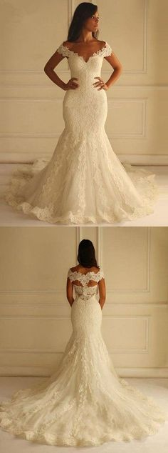 Special Off Shoulder Court Train Short Sleeves Mermaid Lace Wedding Dress with Appliques