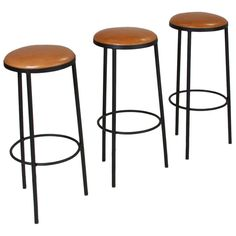 Set of 3 Of Vintage Black Iron & Leather Bar Stools   From a unique collection of antique and modern stools at http://www.1stdibs.com/furniture/seating/stools/
