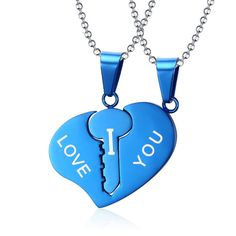 New Arrival Jewelry Beautiful Accessories Heart Key Lover's Pendant I LOVE YOU 316L Stainless Steel Pendants CN-032