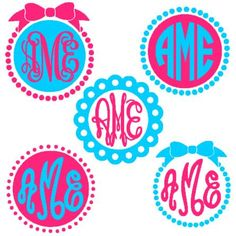 Circle Monogram Frames instant download cut file for Silhouette machine cutting (monogram fonts sold separately)