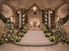 The Elms staircase during Christmas.  Newport, RI
