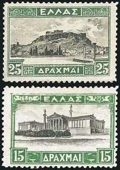 set of 14 values,u/m.The in 2 copies each (shades). Valuable Postage Stamps, Parthenon, Acropolis, Vintage Stamps, Tampons, Stamp Collecting, My Stamp, Greece, Poster