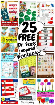 25 FREE Dr. Seuss educational printables and worksheets for preschool and kindergarten. Perfect for celebrating Read Across America Day or for book extension activities.