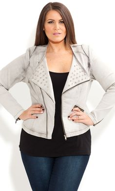 City Chic - STUD BIKER JACKET - Women's plus size fashion