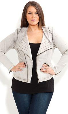City Chic - STUD BIKER JACKET - Women's plus size fashion