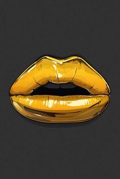 Gold Lips iPhone parallax wallpaper