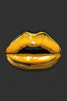 Gold Lips iPhone parallax wallpaper