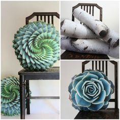 Succulent Pillows and Birch Logs by Plantillo on Etsy