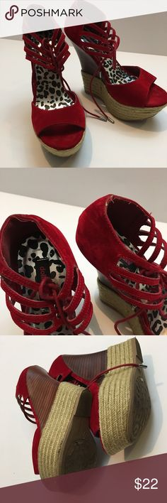 """Red Faux Suede Platform Heels Gorgeous fire engine red platform open toe shoes with minimal wear! These shoes are about 5.5"""" with a 2"""" front Platform! Dollhouse Shoes Platforms"""