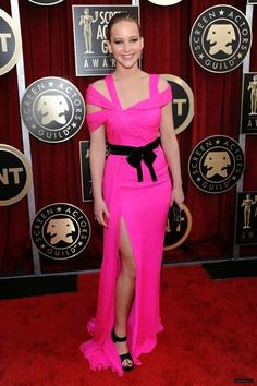 In January of 2011, a budding Jennifer Lawrence captured our attention in this hot pink ODLR gown during the Screen Actors Guild Awards.