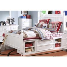 Samuel Lawrence Furniture SummerTime Twin Poster Bed with Underbed Storage in Bright White Bed With Underbed, Morris Homes, Teen Furniture, Under Bed Storage, Storage Beds, Kids Storage, Nebraska Furniture Mart, Panel Bed, White Bedding