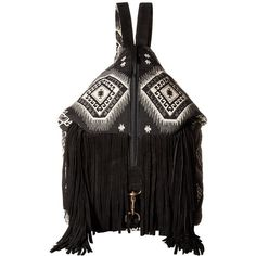 Scully Kali Fringe Handbag (Black/White) Handbags ($90) ❤ liked on Polyvore featuring bags, handbags, shoulder bags, strap backpack, fringe shoulder bag, fringe purse, black and white backpack and shoulder handbags