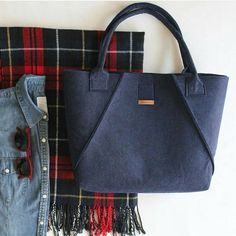Handmade Dark Blue Felt Tote Bags, Geometric Bag, Shopper Bag, Felt Shopper, Felt Shoulder Bag, Carry All Bag, Hand Bag, Gitf For Women