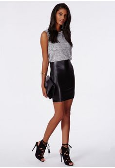 We're getting all giddy for A/W pieces and updating our wardrobes already! This faux leather mini is the perfect transitional piece to take you into the new season in style. Featuring a hot bodycon fit and comfy yet cool melange top, the mi...