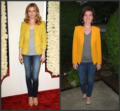 Wrapping up Celebrity Inspiration Week on the blog: mustard yellow blazer, grey t-shirt, jeans, outfit