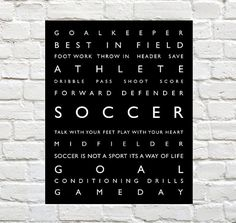Soccer - Sports Decor - Soccer Typography Prints by PaperWallDesign can be Personalized to include your Athletes Name. Motivational words to celebrate and inspire you Player. Explore our entire collection of Sports Typography Prints to celebrate the Athlete in your life! #Soccer