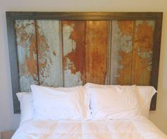Distressed steel headboard, would be cool against barn wood wall maybe? Rustic House, Rustic Design, Rustic Furniture, Rustic Headboard, Bedroom Accessories, Tin Headboard, Upholstered Headboard, Decorating Small Spaces, Headboard Benches