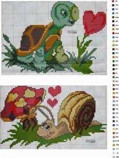 Turtle and Snail cross stitch. Cross Stitch For Kids, Cross Stitch Heart, Cross Stitch Animals, Cross Stitch Flowers, Funny Cross Stitch Patterns, Cross Patterns, Cross Stitch Designs, Embroidery Patterns, Cross Stitching