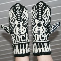 Let's Rock mittens Found these mittens on a Norwegian blog, Muffins World. She knit these, aren't they great?